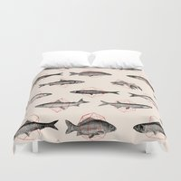 square Duvet Covers featuring Fishes In Geometrics (Red) by Florent Bodart / Speakerine