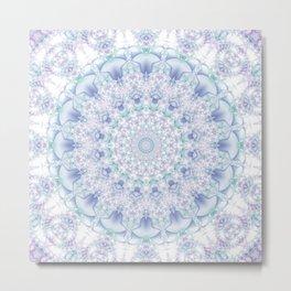 Purple, Blue, and Green Pastel Mandala Metal Print
