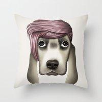 butcher billy Throw Pillows featuring Billy by Giada Engelke-Oelbracht