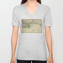Map of Louisiana and Florida Gulf Coast (1778) Unisex V-Neck