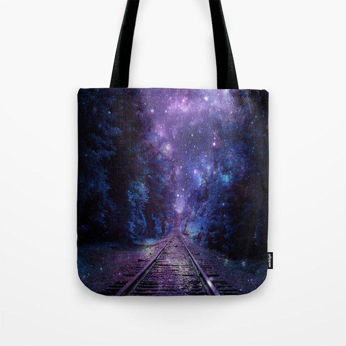 TRAIN tracks Purple Blue Tote Bag