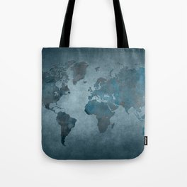 World map 6 blue Tote Bag