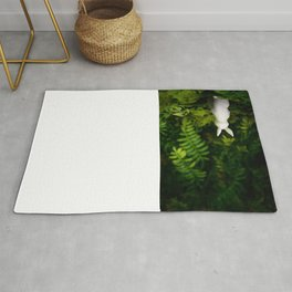 White Bunny with back turned Rug