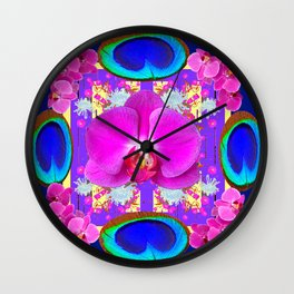 Decorative  Purple Fuchsia Orchids Wall Clock