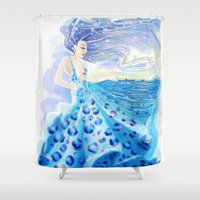 dress Shower Curtains featuring SEA DRESS by Mononoke Monster (maddalena carrai)