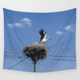 A storks' nest on a telegraph pole Wall Tapestry