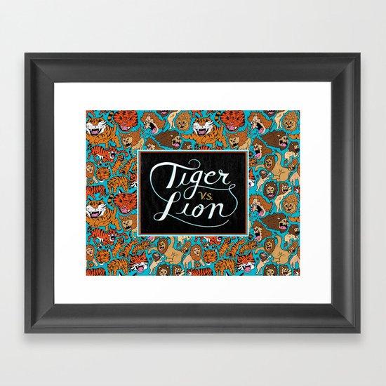 Tiger VS. Lion Framed Art Print