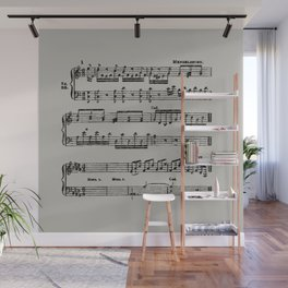Black distressed stamped music notes light gray grey background Wall Mural