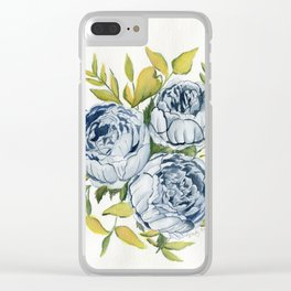 Blue Flowers Watercolor Clear iPhone Case