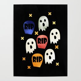 Ghost and Gravestone Halloween Poster