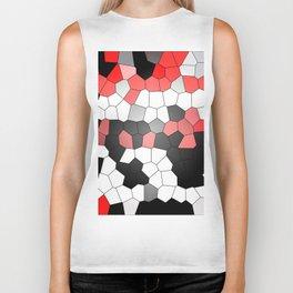 Red White Black Mosaik Graphic Biker Tank