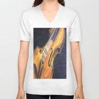 violin V-neck T-shirts featuring Violin by Renny Hendra