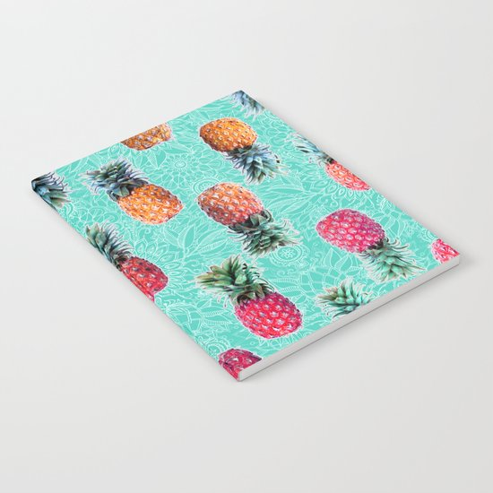 From Pineapple to Pink - tropical doodle pattern on mint Notebook