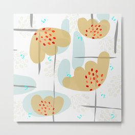 Organic Minimal Flowers and Leaves Shapes Metal Print
