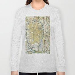 Japanese woodblock map of Kyoto, Japan, 1696 Long Sleeve T-shirt
