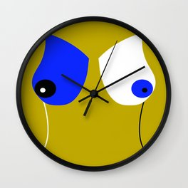 Breasticles In Yellow and Blue Wall Clock