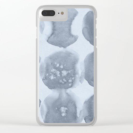 Shibori Wabi Sabi Indigo Blue on Sky Blue Clear iPhone Case
