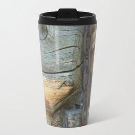 Weathered - Old Barn Wood & Rusted Chain Mormon Row Cabins Closeup Travel Mug