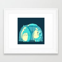 catbug Framed Art Prints featuring New Blue Neighbors by Andrew Sebastian Kwan