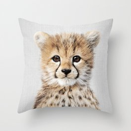 Baby Cheetah - Colorful Throw Pillow