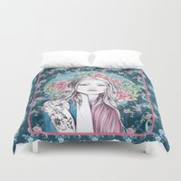 gemma correll Duvet Covers featuring LILLY by Gemma Hodgson Design