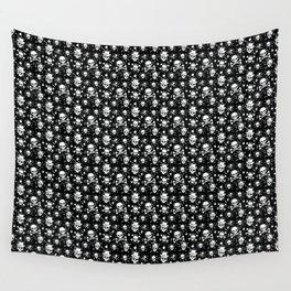 White skull pattern on black - deluxe Wall Tapestry