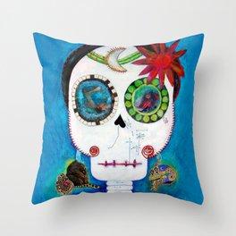 Maite´s skull Throw Pillow