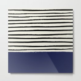 Navy x Stripes Metal Print