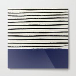 Navy x Stripes Metal Print