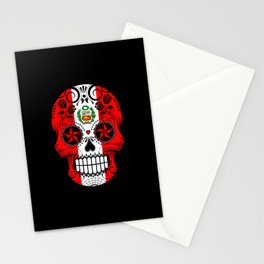 Sugar Skull with Roses and Flag of Peru Stationery Cards