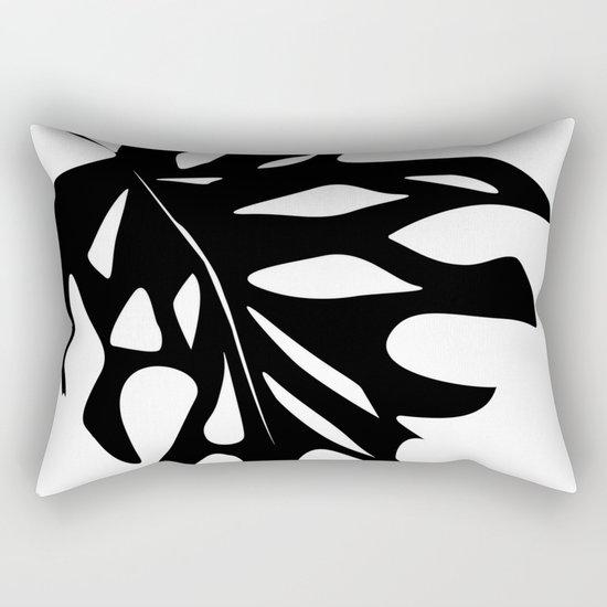 Black leaf monstera on white background . Rectangular Pillow