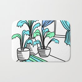 Three Potted Plants in the Corner - Aqua Blue Green Bath Mat