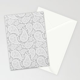 Paisley (White & Gray Pattern) Stationery Cards