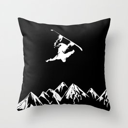 Rocky Mountain Snowboarder Catching Air Throw Pillow