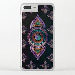 Beautiful  Yin yang in purple teal and orange Clear iPhone Case