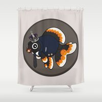 moriarty Shower Curtains featuring Goldfish Jim Moriarty by WhoGroovesOn