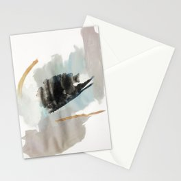 From a Distance - a minimal acrylic and ink abstract piece in blue, black, and tan Stationery Cards
