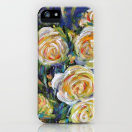 LET LIFE BE LOVABLE LIKE SUMMER ROSES - Original abstract floral painting by HSIN LIN / HSIN LIN ART iPhone Case