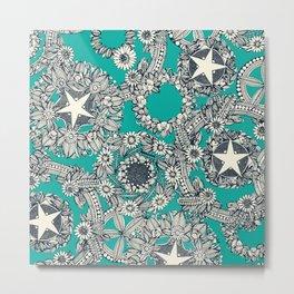 cirque fleur turquoise Metal Print