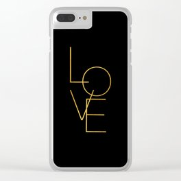 LOVE / black and gold Clear iPhone Case