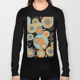 Retro Mid Century Modern Circles Geometric Bubbles Pattern Long Sleeve T-shirt