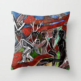 Sorcerers, Dragons, and Ravens Throw Pillow