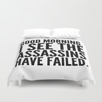 vector Duvet Covers featuring Good morning, I see the assassins have failed. by CreativeAngel