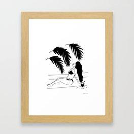 girl with palms Framed Art Print