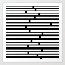 Bricks White on Black Art Print