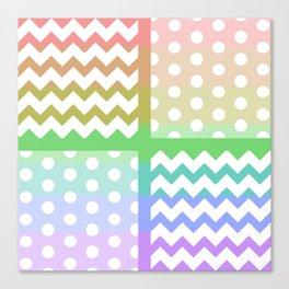 Pastel Rainbow/White Chevron/Polkadot Pillow Canvas Print