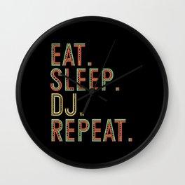 Eat. Sleep. Dj. Repeat. Nightclub Dance Wall Clock