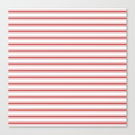 Mattress Ticking Wide Striped Pattern in Red and White Canvas Print