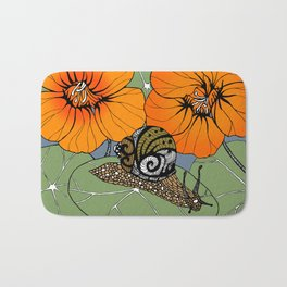 Snail on Nasturtiums Bath Mat