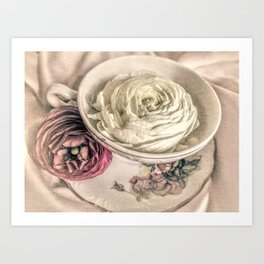 Ranunculus Flowers Tea Cup Modern Cottage Modern Country Matted Picture USA A445 Art Print